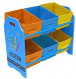 Organizator jucarii Copii Fun cu cadru din lemn Blue Crayon