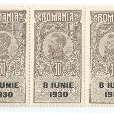 România, lot 56 cu 3 timbre fiscale generale, Ferdinand cu supratipar, MNH