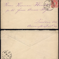 Austria 1884 Postal History Rare Cover Tetschen to Dresden Germany DB.232