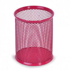 Suport rotund din metal pentru pixuri si creioane, 8×10 cm, rosu