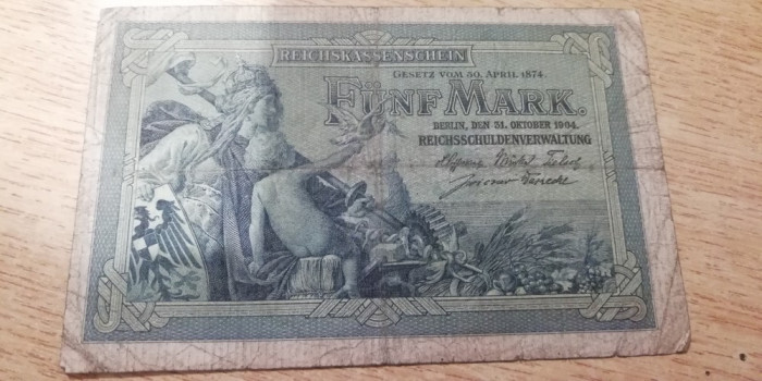 MDBS - BANCNOTA GERMANIA - 5 MARK - 1904