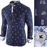 Camasa pentru barbati, bleumarin, slim fit, casual - London Town Cool, 3XL, L, M, S, XL, XXL, Maneca lunga