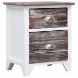 Noptieră, maro și alb, 38 x 28 x 45 cm, lemn de paulownia, vidaXL