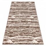 Covor MEFE modern 8761 Valuri - structural două niveluri de lână bej închis, 120x170 cm