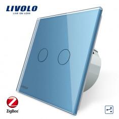 Intrerupator dublu cap-scara cap-cruce cu touch Livolo din sticla – protocol ZigBee, Albastru