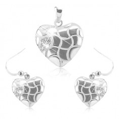 Set format din cercei și pandantiv din argint 925, inimă rotunjită decorate cu crestături și zirconii