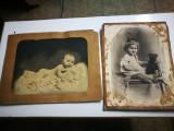 2 Foto vechi, mari, pe carton. Atelier foto Cernauti. Poze copii,jucarii,bebelus
