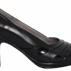 Pantofi dama din piele cu toc Ninna Art 163 negru