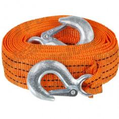 Chinga remorcare sufa ancorare si/sau ridicare chinga tractare 3 tone, lungime 4 metri, fixare cu carlige,orange