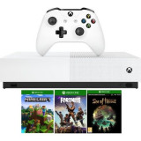 Consola MICROSOFT Xbox One S 1TB All-Digital Edition, alb + 3 jocuri: Minecraft, Sea of Thieves, Fortnite (coduri download)