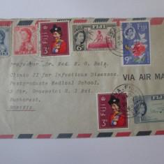 Rar! Plic circulat Fiji/Suva-Bucuresti 1967,destinatar:Prof.Dr.Matei G.Balș