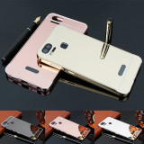 Husa / Bumper aluminiu + spate acril oglinda Asus Zenfone 3 Zoom ZE553KL, Argintiu, Roz