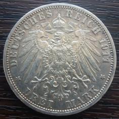 (A734) MONEDA DIN ARGINT GERMANIA, PRUSIA - 3 MARK 1911, LIT. A, WILHELM II
