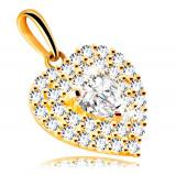 Cumpara ieftin Pandantiv din aur de 14 K - inimă împodobită cu zirconii strălucitoare, inimă de zirconiu încorporată