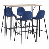 VidaXL Set mobilier de bar, 5 piese, albastru, material textil