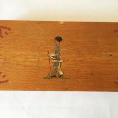 Penar vechi din lemn, romanesc, cu ciobanas / cioban litografie, RSR, 22x11 cm