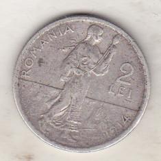 bnk mnd Romania 2 lei 1914 Hamburg ,muchie rotunjita , argint