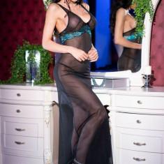 Rochita Sexy Lunga Si Chilotei String, Model CR 4215, Negru/Turcoaz, M