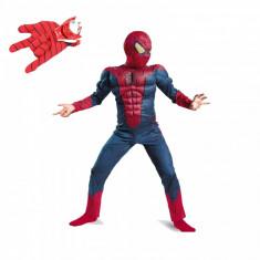 Set costum Spiderman cu muschi Infinity War pentru copii, manusa cu discuri, M, 5 - 7 ani
