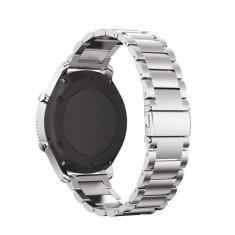 Curea metalica Edman 3Z pentru Samsung Gear S3 si telescoape Quick Release incluse in pachet, latime prindere 22mm, Argintiu