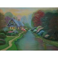 Tablou Peisaj de toamna, pictat in ulei, 44x34 cm, cu rama din lemn
