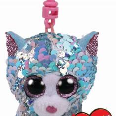 Breloc din plus TY Sequins 8.5 - Pisica Whimsy cu paiete