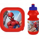 Set 3 piese geanta sandwich cutie sandwich si recipient lichide Spiderman
