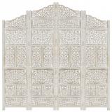 Paravan cameră sculptat manual, 4 panouri, alb 160x165 cm mango, vidaXL