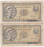 ROMANIA 2 X 5 LEI 1952 SERIE CONSECUTIVA a52, a53 UZATE