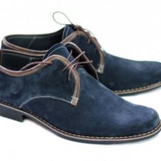 Pantofi barbati piele naturala (Intoarsa) casual-eleganti Bleumarin - Made in Romania!