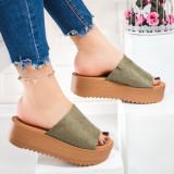 Papuci cu platforma dama khaki Madisala