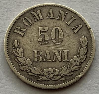 50 Bani 1873 Argint, Romania, VF foto