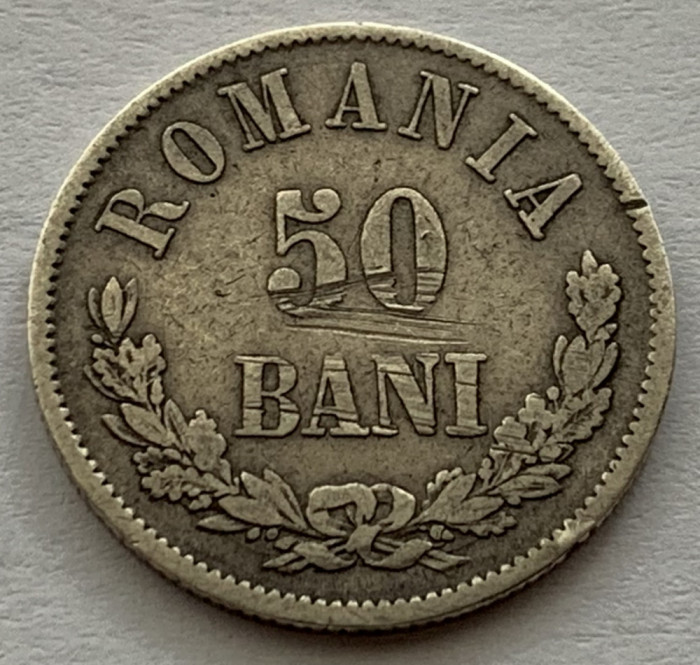 50 Bani 1873 Argint, Romania, VF