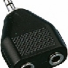 Adaptor Jack 3.5 tata stereo - 2 x Jack 3.5 mama stereo Monacor NTA-195