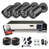 Kit supraveghere video interior si exterior 4 canale ,5 MP, 4 camere CCTV,Vizionare in timp real pe aplicatie, Smart Playback, Alerta instantanee prin