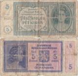 1940, 5 korún (P-4a) - Protectoratul Boemiei și Moraviei!