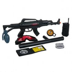 Set arma de jucarie pentru copii, model set de politie cu mitraliera si accesorii, 44x38x3 cm