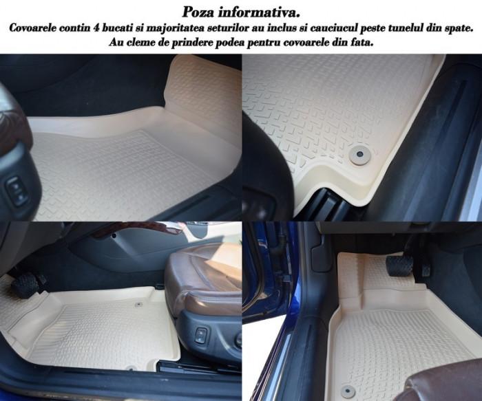 Covoare cauciuc stil tavita BEJ Hyundai Santa Fe 2006-2012 ( 2D 0188, A10 BEJ ) TerraCars