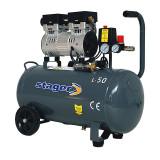 Compresor aer Stager, 750 W, 8 bar, 50 l, 165 l/min, 1400 rpm, monofazat, angrenare directa, silentios