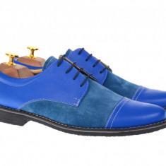 Pantofi barbati albastri, casual din piele naturala intoarsa, CARLO BLUE