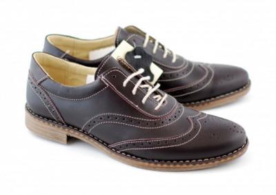 Pantofi barbati oxford, eleganti din piele naturala maro - Denys 870MBOX foto