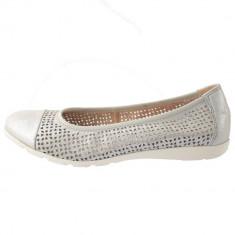 Balerini dama, din piele naturala, marca Caprice, 9-22151-22-18-03, argintiu 38