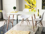 Cumpara ieftin Set masa MDF si lemn Nolan White / Beech + 4 scaune Enzo White / Beech, L120xl80xH73 cm