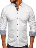 Cămașă elegantă pentru bărbat cu mâneca lungă albă Bolf 5796