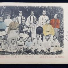 Locuitorul Gh.Balan cu Sotia si cei 17 copii ai sei. Com. Filioara Jud. Neamt - Carte postala clasica