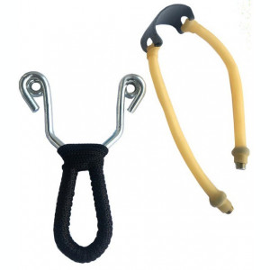 Pachet briceag toporisca multifunctionala pentru camping + prastie metalica de...