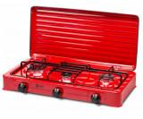 Plita 3 arzatoare pentru butelie LDK ELS6606 , emailata , rosu, capac metalic
