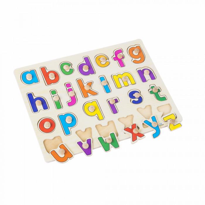 Puzzle incastru din lemn cu maner - litere de mana.