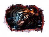 Cumpara ieftin Sticker decorativ, Gaura in perete 3D, Tigru, 85 cm, 393STK