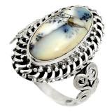 Cumpara ieftin Inel bijuterie din argint 925 cu opal dentritic alb